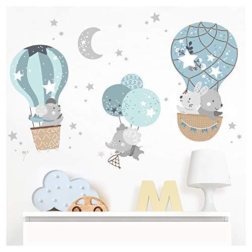 Little Deco Wandaufkleber Babyzimmer Tiere im Heißluftballon I Wandbild 119 x 80 cm (BxH) I Maus Elefant Sterne Hase Kinderzimmer Wandtattoo Jungen DL510