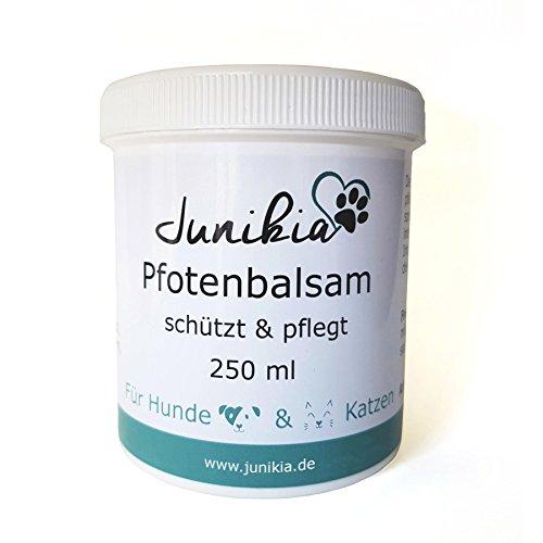 Junikia Pfotenbalsam für Hunde und Katzen pflegt trockene und rissige Pfoten und schützt mit Zink und Calendula (250 ml)