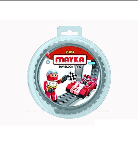 Mayka 34635- Klebeband für Lego Bausteine, 1 m selbstklebendes Band mit 2 Noppen, graues Bausteinband, flexibles Noppenband zum Bauen mit Legosteinen für Kinder ab 3 Jahre, wiederverwendbar