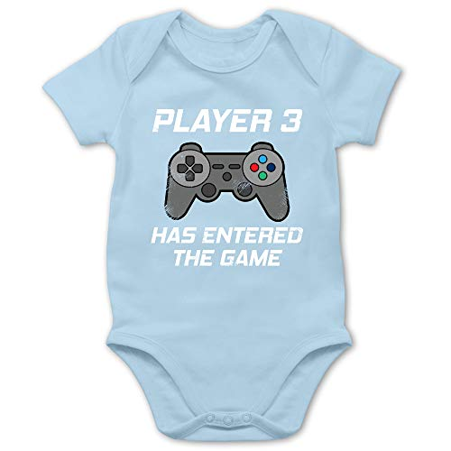 Zur Geburt - Player 3 Has Entered The Game Controller grau - 1/3 Monate - Babyblau - Player 3 Has Entered The Game - BZ10 - Baby Body Kurzarm für Jungen und Mädchen
