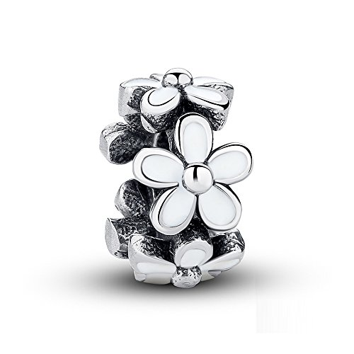 NINGAN Darling Daisies, White Enamel Charm 925 Sterling Silver Bead Charms Fits European Bracelets Compatible