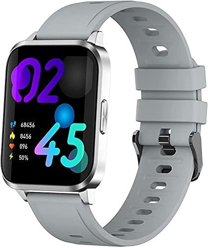 PKLG Smart Watch-Damen, 1,69 Zoll Touchscreen, Herzfrequenzschlaf Monitor mit Temperaturthermometer, IP67 wasserdichte Uhr, geeignet für Android iOS(Grey)