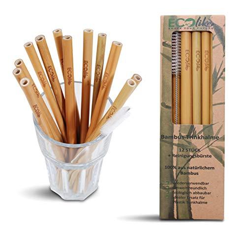 ECOlike® 12er Set Bambus Strohhalme Trinkhalme wiederverwendbar + Reinigungsbürste Mehrweg 100% biologisch abbaubar | BPA frei | Plastikfrei | Spülmaschinenfest | Zertifiziert | Cocktail Smoothie