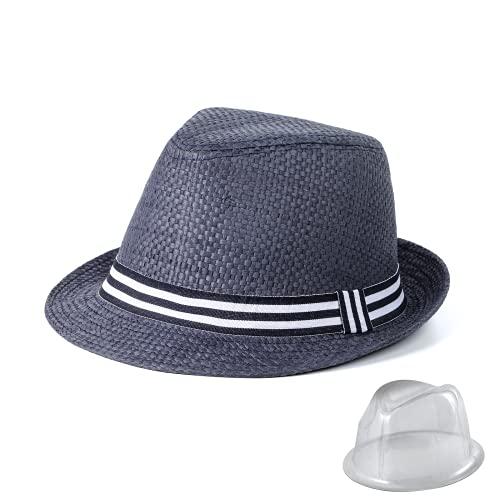 SIEPAKE Cappelli da Sole in Paglia di Panama Cappelli da Spiaggia Estivi in Paglia di Carta per Uomo Cappello da Sole Protezione UV Cappello a Tesa Larga Fedora (Blu Bianco, 59cm(23.2inch))