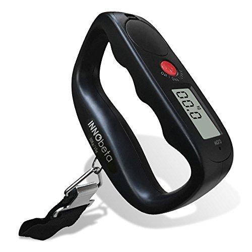 InnoBeta Portátil Báscula Digital de Precisión Balanza Electrónico De Mano Colgar Equipaje, Báscula Pesca Digital 50g/50Kg 0.1lb/110lb para Maletas Equipaje de Viaje, Baterias incluidas-Negro