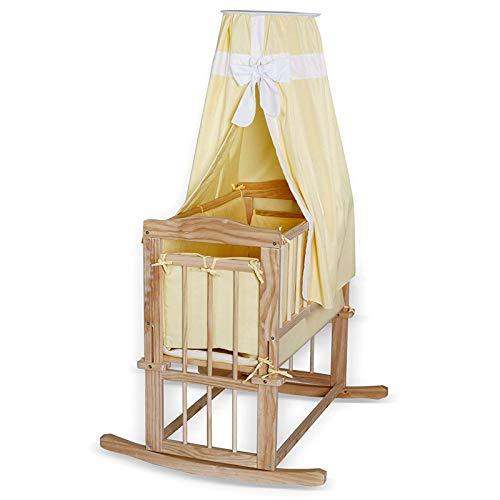 Babybett Holz Kinderwiege mit Kufen & Rollen Set mit Bettdecke/Kopfkissen & Himmel Liegefläche 80x40 cm gelb