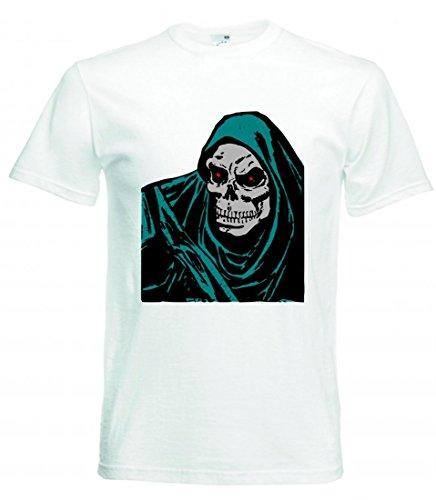 Camiseta de manga corta para la muerte de BÖSE, cara de Grim, Halloween, Halloween y terror, hombre de terror, monstruo, no hombre, cortador, esqueleto, huesos de la suerte para hombre, mujer, niños, 104 – 5 XL Blanco Talla del hombre: 5X-Large
