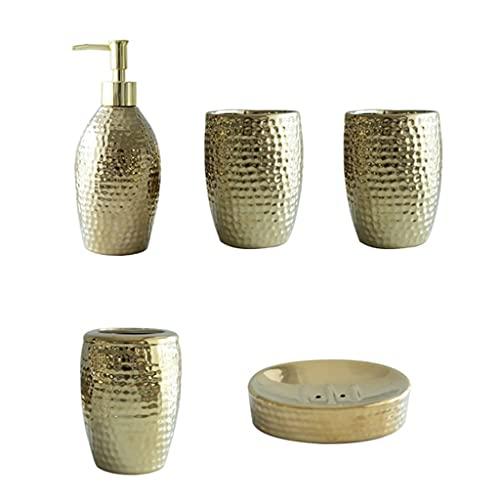 GFTDTM Juego de baño Accesorios de baño de cerámica de Oro Europeos establecen Cinco Sets, Conjunto de Aseo de cerámica de Lujo Ligero Cerámico (Color : Five Piece Set)