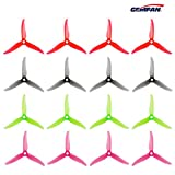 Guokukey Gemfan 16pcs 4023 Hélice à 3 pales 4 pouces Tri Blade Props for 1408-1506 Brushless Motors FPV Racing Drone Quadcopter Transparent Red, Grey, Green, Pomegranate Red