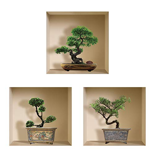 THE NISHA Art Magic 3D Vinyl Removable Wall Sticker Decals DIY, Set of 3, Green Bonsai