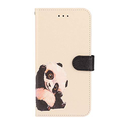 Hoesje voor iPhone X, iPhone Xs Wallet Book Case, Magneet Flip Wallet Slim Beschermende Telefoonhoes met Kaarthouders slots Robuuste schokbestendige Bookcase voor iPhone X, iPhone Xs Panda