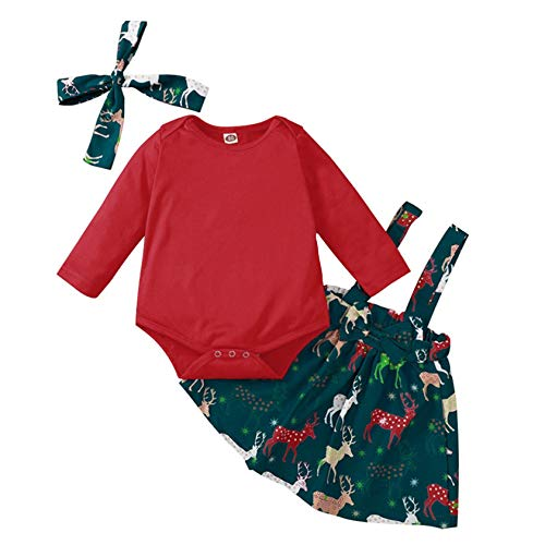 Infant Baby Girls Christmas Solid Red Romper Jumpsuit+ Deer Print Suspender Skirts with Headbands Sets 3-24M (Red, 6-9 Months)