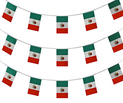 MEXICAN BUNTING 10 METERS (33FT) IDEAL ALL WEATHER PLASTIC MEXICO FLAG FOR...