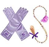 Princess Rapunzel Wig Rapunzel Braid Long Hair Wig with Braid Gloves Dress up Accessories for Girls