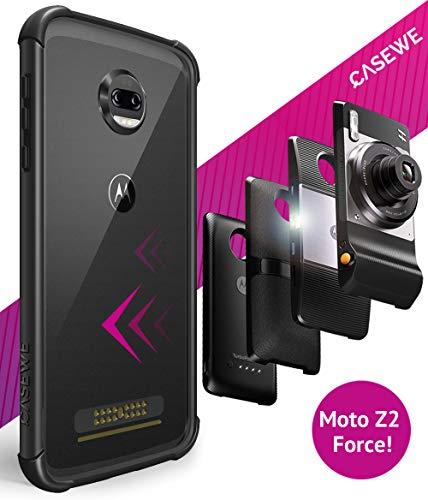 Casewe - Funda para Motorola Moto Z2 Force/Bumper Protector Compatible con Moto Mods - Negro Mate