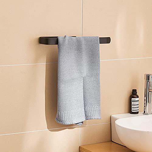 Toalleros de Baño, Toallero Negro sin Taladro, 31,5 cm Toallero Adhesivo, Toallero Ducha Pared, Aluminio, Acabado Mate