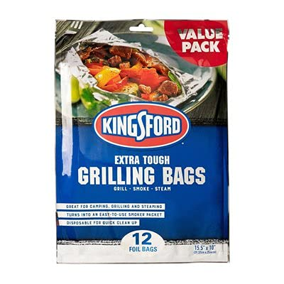 Kingsford Extra Tough Aluminum Grill Bags, for Locking in Flavors & Easy Grill Clean Up, Recyclable & Disposable, 15.5' x 10' (Pack of 12)