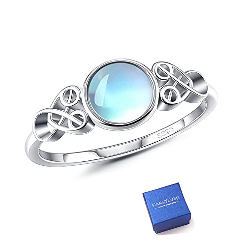 Fansilver Moonstone Ring Sterling Silver For Women Celtic Knot Ring Round Synthetic Moonstone Ring Victorian Style Dainty Ring For Engagement Anniversary Wedding Ring Size 7
