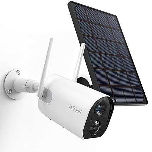 【Version Mejorada】 Camaras de Vigilancia WiFi Exterior con Batería Recargable de 10400 mAh y Panel Solar, Detección de Movimiento PIR, Visión Nocturna,ieGeek-Camara-Vigilancia-WiFi-Exterior