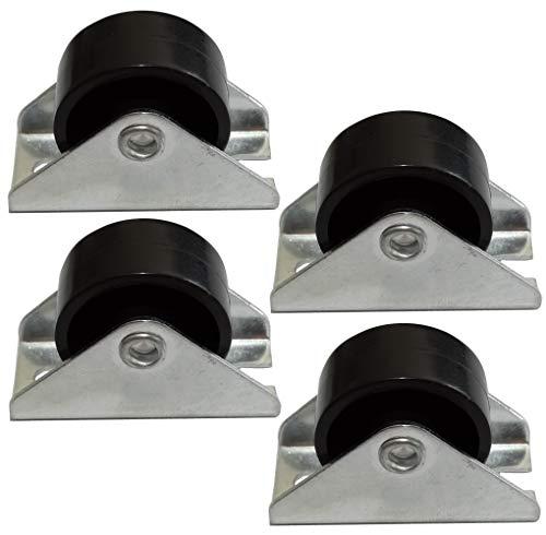 Aerzetix: 4 x Rollen für Möbel Platin Durchmesser 25 mm Breite 12 mm Höhe 28 mm 25 kg Montageplatte 18 x 40 mm C42672
