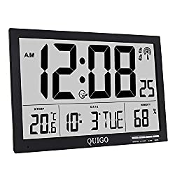 QUIGO Atomic Wall Clock Digital Alarm Extra Large Big Display Battery Operated Slim Table Desk Bedroom Office Classroom 17(Black)