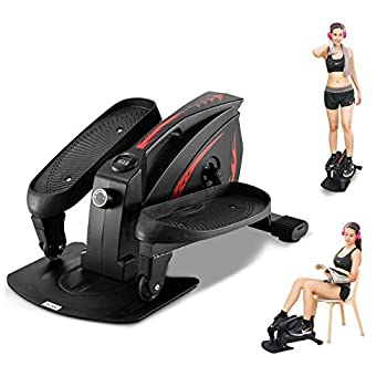 GREARDEN Under Desk Elliptical Machine Mini Cycle Exercise Bike Desk Elliptical Machine Trainer with Non-Slip Pedal Display Monitor & Adjustable Resistance for Home Office Workout  Black