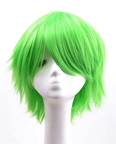 etruke courte droite Parti Vert Résistant à la chaleur cosplay perruques