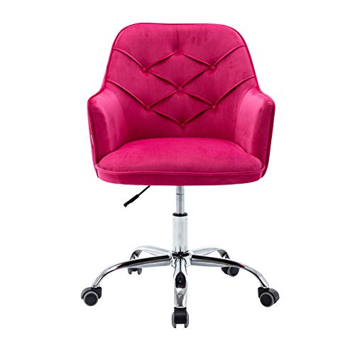 Goujxcy Home Office Chair,Velvet Desk Chair with Metal Base,Modern Adjustable Swivel Chair (Plum Purple)