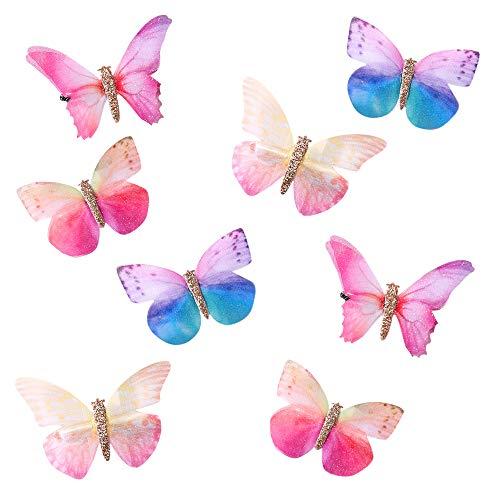 Gobesty Schmetterling-Haarclips aus Chiffon, 8 Stück glitzernd Haarspangen mit Schmetterlingen für Frauen Mädchen Braut Halloween Haarschmuck