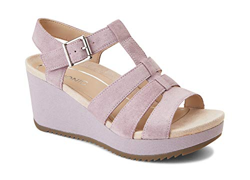 Vionic Women's Hoola Tawny T-Strap Wedge - Ladies Platform Sandal with Concealed Orthotic Arch Support Mauve Suede 11 M US
