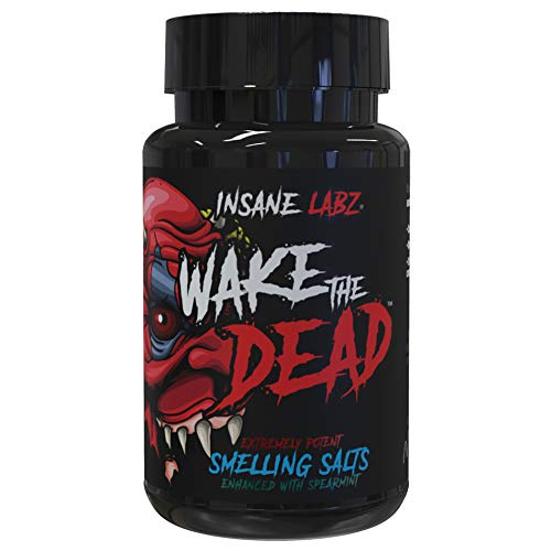 Insane Labz Wake The Dead Smelling Salts Pre Workout, Massive Energy Boosting Powder, Ammonia Inhalant, Extreme Focus for Power-Lifting Athletes, 100 Uses just add Water