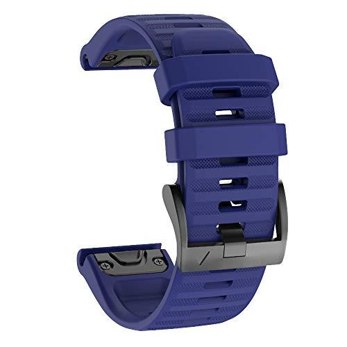 Isabake Correa de Reloj para Garmin Venu Fenix 6X / 6X Pro, Fenix 5X / 5X Plus, Accesorios Fenix 3/3 HR, Banda QuickFit de 26 mm de Ancho (Azuloscuro)