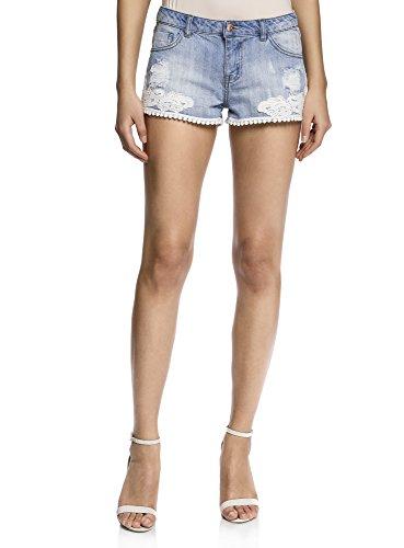 oodji Ultra Donna Shorts in Jeans con Pizzo, Blu, W26 / IT 40 / EU 36