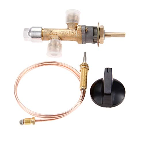 Aupoko Low Pressure Propane Gas Fireplace Fire Pit Gas Control Cock Valve with Thermocouple and Knob Switch, with Flare Thread 5/8''-18UNF Inlet & Outlet, Fits for Gas Grill, Heater, Fire Pit