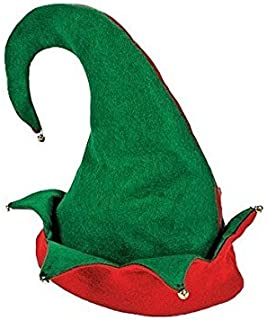 3 Pack Felt Santa Elf Costume Hat with Bells