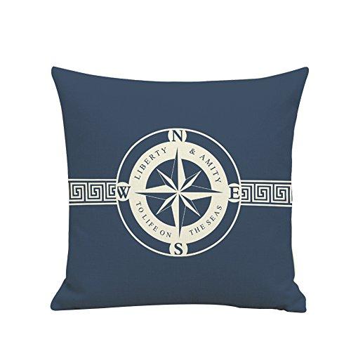 BIGBOBA Housse de coussin en lin Motif pirate Bleu décoration de sofa 45 x 45 cm