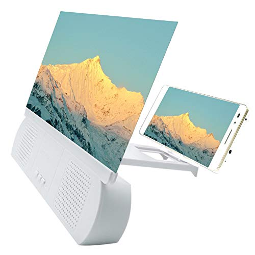YASE-king 3D Screen Magnifier with Bluetooth Speaker Movies Amplifier for IOS Android Phones (Color : White)