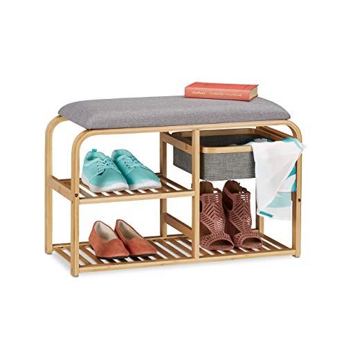 Relaxdays Schuhbank mit Sitzfläche, gepolstert, Flur & Garderobe, schmal, Bambus Sitzbank HxBxT: 45x69x30 cm, grau/natur