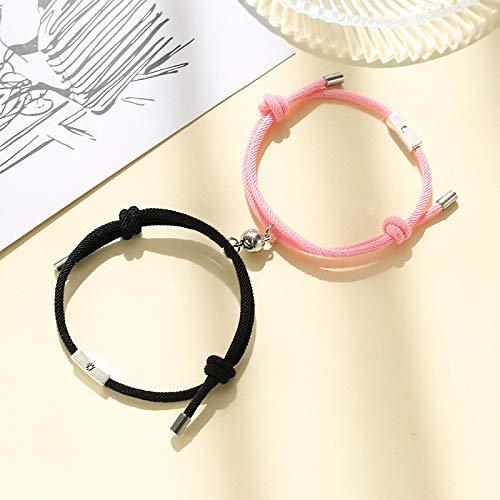 dingtian Juego de 2 pulseras románticas con imán para parejas, larga distancia, color negro y rojo, a juego, regalo para el día de San Valentín, color negro y rosa