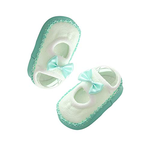 KTENME Chaussettes antidérapantes pour bébé de 0 à 4 Ans avec nœud et nœud en Caoutchouc, Coton, Green-b, 12 cm