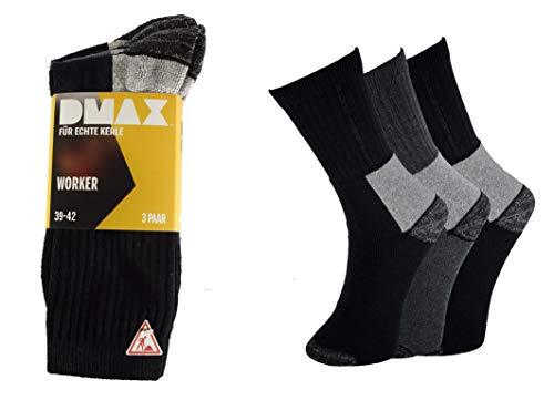 DMAX Arbeitssocken für echte Kerle 6|9|12|24 Paar wahlweise in Schwarz, Grau, Blau und drei Größen 39-42/43-46/47-50 (39-42, 9 Paar Schwarz/Grau)