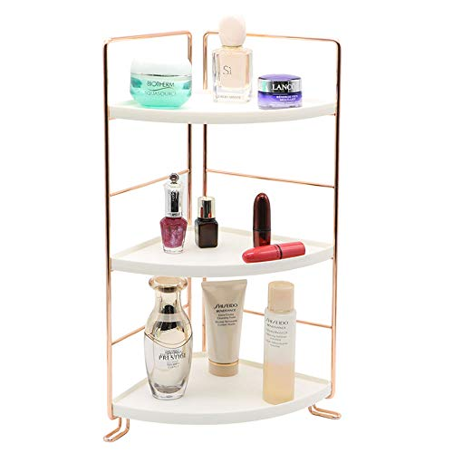 3-Tier Bathroom Countertop Organizer Stackable Makeup Storage Holder Vanity Tray Cosmetic Rack Standing Kitchen Spice Rack Corner Storage Shelf, Easy to Assemble, Rose Gold Fashion Design