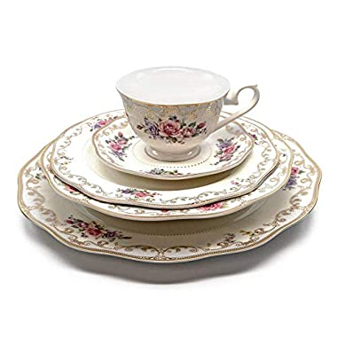 Royalty Porcelain  Ruby Rose  5-Piece White & Gold Floral Dinnerware Set, 24K Gold-Plated, Bone China Porcelain, Service for 1