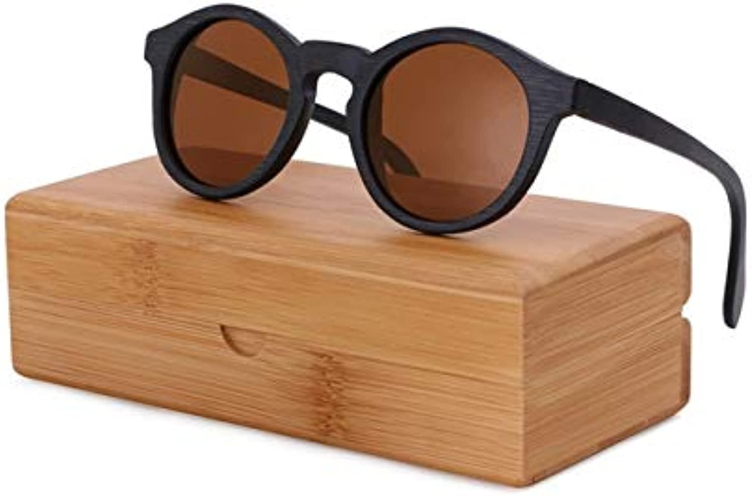 BerWerfashion Polarized Woman Sunglasses Man Bamboo Wooden Sunglasses de sol Feminino  (Lenses color  Brown Lens with case)