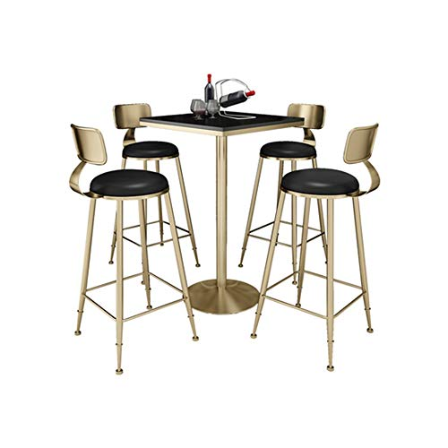 YANGLY Modern Kitchen Dining Table & Chairs Set for Living Room, Kitchen, Balcony, Dining Room, Bar (Color : Black Square, Size : 4 Chairs and 1 Table)