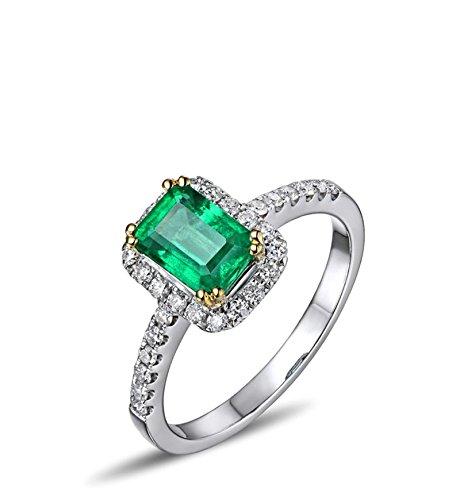 Aimsie Damen Ring 18 Karat 750 Gold Platz 1,05ct Smaragd Damenring Verlobungsring 0,33ct Diamant Ring Eheringe Solitär Größe 58 (18.5)