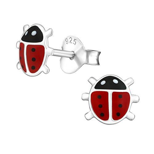 Laimons Pendientes infantiles para niñas, joyas para niños, mariquita, color rojo y negro, de plata de ley 925