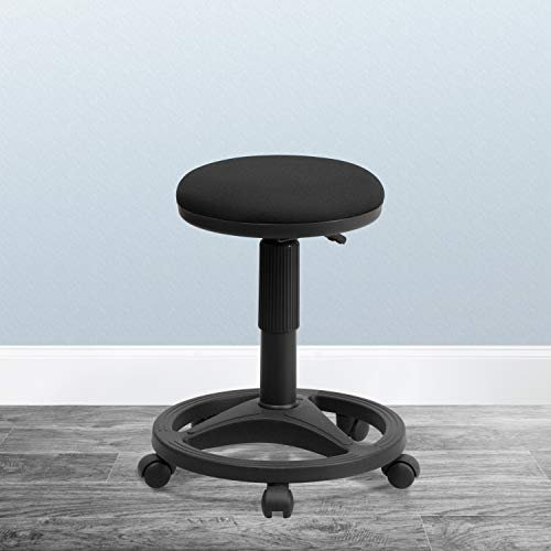 Flash Furniture Black Ergonomic Stool with Foot Ring