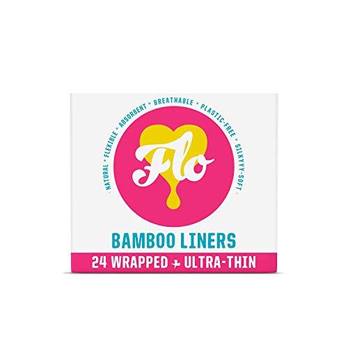 Qui We Flo Natural Bamboo Liners – avvolti e ultra sottili – sostenibili senza plastica – 24 pezzi