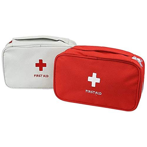 Camisin 2 PSC Portable First Aid Empty Kit Pouch Tote Small First Responder Storage Bag Compact Emergency Survival Bag Medicine Bag for Home Office